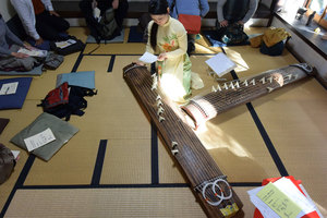 2つの箏をこんな風に並べて演奏しながら地唄を唄う松澤さん